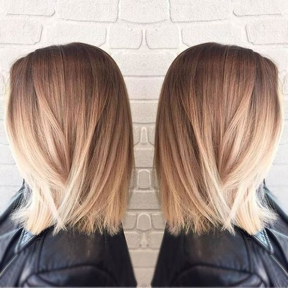Straight Long Bob with Blonde Balayage