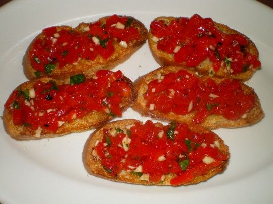 Don't be fooled by its appearance--it's peppers, not tomatoes. And plenty of garlic.