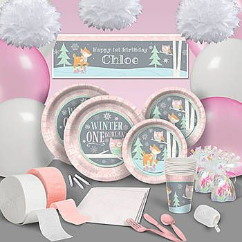 Our Pink Winter ONEderland Ultimate Party Pack Features An Adorable Design And A Border With Snowflake Accents