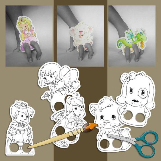 Marionnettes colorier pour avenue mandarine my work v ronique hermouet pinterest - Marionnettes a doigts a imprimer ...