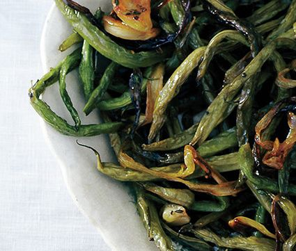 Slow roasted green beans with sage.
