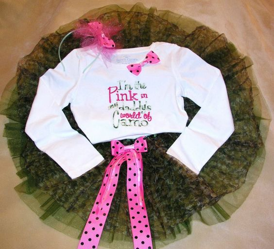 """Such a cute outfit! the saying is awesome """"I am the pink in my daddy's world of camo"""""""