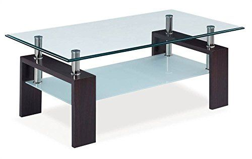 Global Furniture Clear Frosted Occasional Coffee Table With Dark Walnut Legs Global Furniture Rectangular Glass Coffee Table Coffee Table Wood