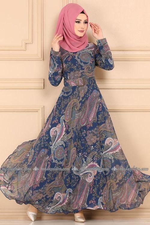 Modaselvim Elbise Desenli Sifon Tesettur Elbise 204al357 Indigo Elbiseler Elbise Kiyafet