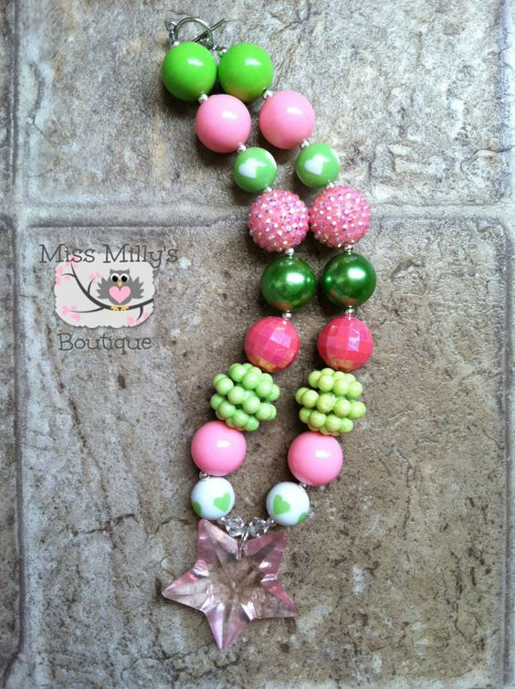 Pink and Green Star Chunky Gumball Necklace by MissMillysBoutique, $16.00
