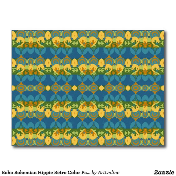 Boho Bohemian Hippie Retro Color Palette Postcard