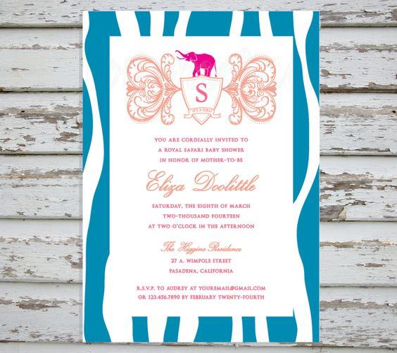 DIY Printable Royal Safari Baby Shower Invitation Invites Elephant Zebra Swirls Pink/Coral/Fuchsia/Turquoise PDF/Printed #Pink #Wedding #PinkWedding #Paper