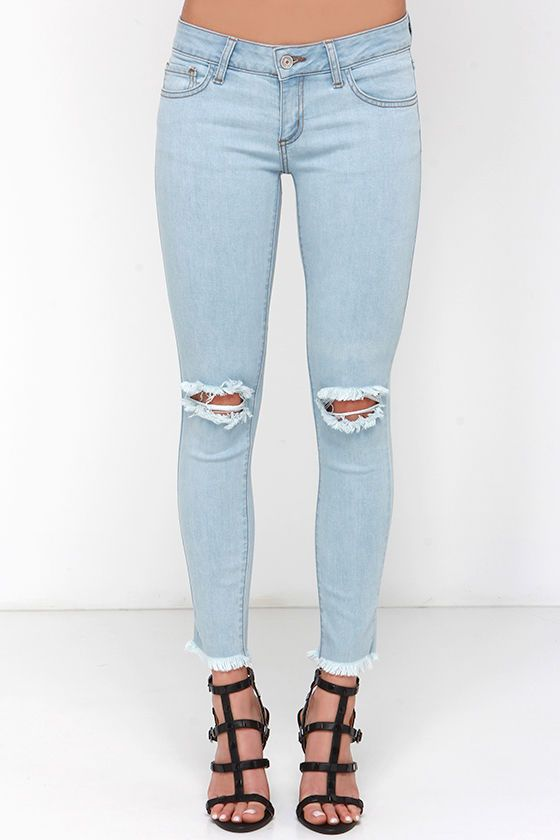 Keep on Truckin' Light Wash Distressed Ankle Skinny Jeans | Pants ...