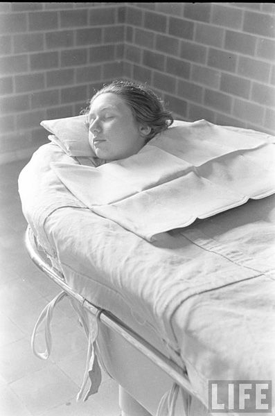 """before the """"major tranquilizers"""" -- Patient in a continuous bath at Pilgrim State Hospital, 1936 by Alfred Eisenstaedt"""