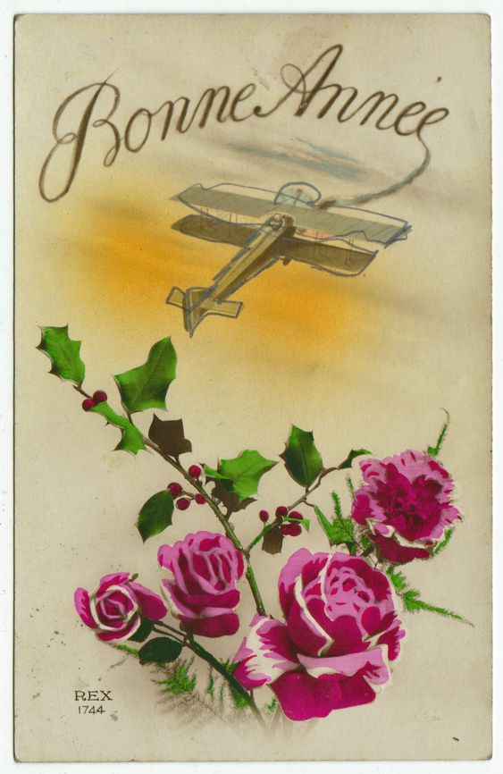 Postcards - Greetings & Congrads # 559 - Happy New Year - Roses