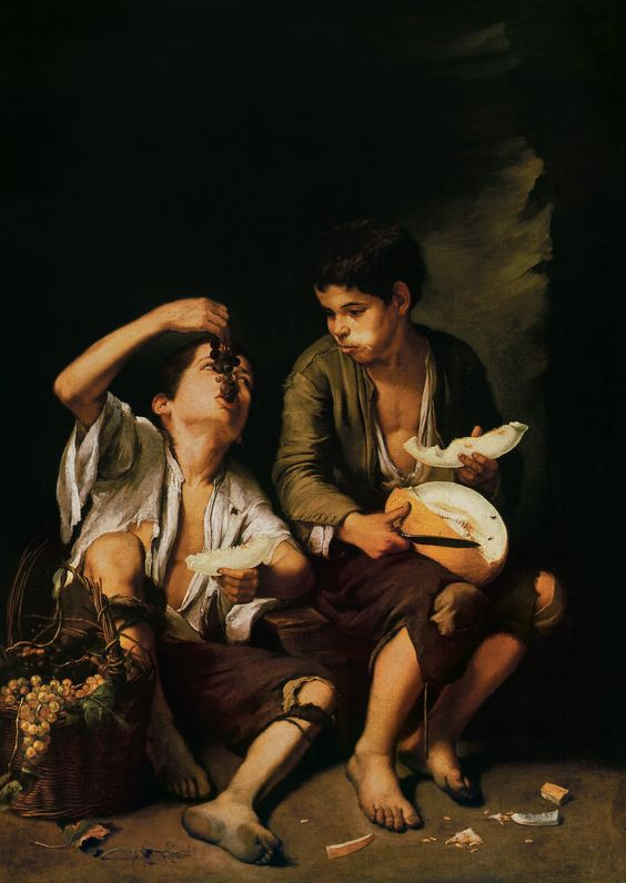 Bartolomé Esteban Murillo, Boys eating Grapes and Melon, 1645-1646. Oil on canvas, 146 x 104 cm. Alte Pinakothek, Munich.