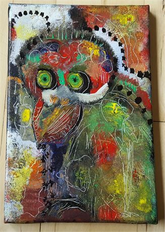 Psycho Bird, abstract acrylic, original painting, signed on the back, measures 30 X 20 cm.