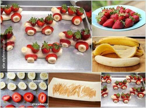 Erdbeer-Bananen-Autos Banana and strawberry fruit cars