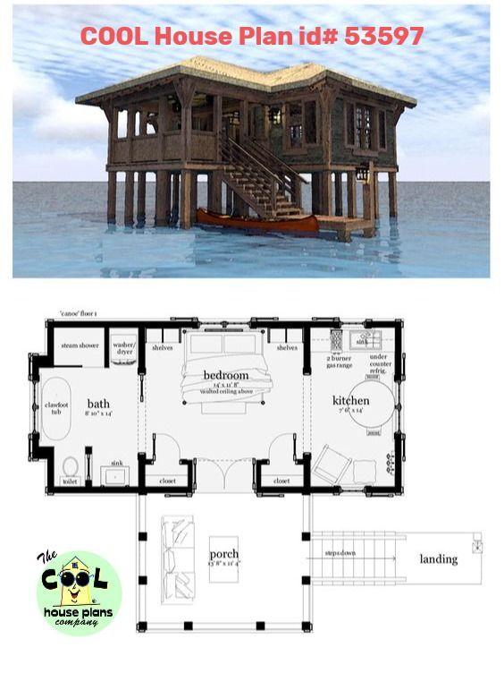 Coastal Style House Plan 67540 With 1 Bed 1 Bath Seaside House House Plans Best House Plans