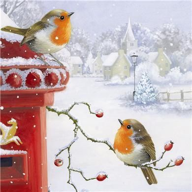 Robins & Post Box   Artist unknown.  Was printed on Christmas cards that were made to be sold by charities.: