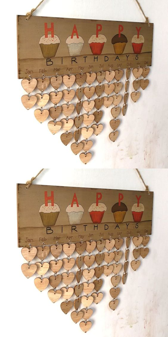 DIY Wooden Family And Friends Happy Birthday Calendar Reminder Board
