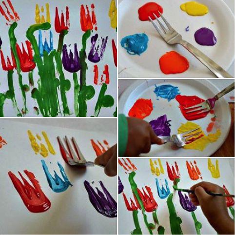 Flores con tenedores
