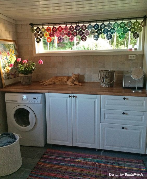 Curtains Ideas cat curtains kitchen : Crochet curtain of Japanese Flowers by BautaWitch and Findus ...