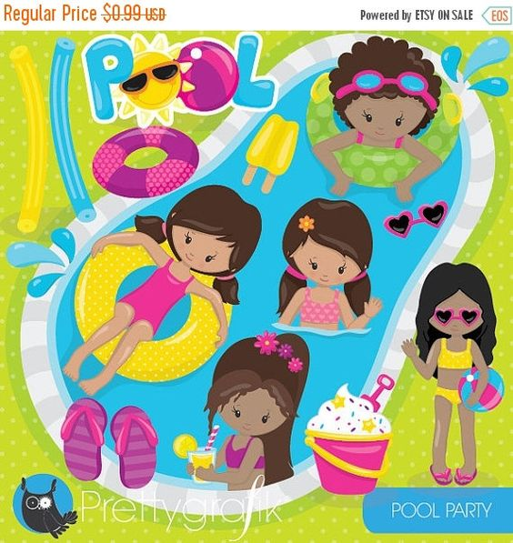 80% OFF SALE Pool party girls clipart by Prettygrafikdesign