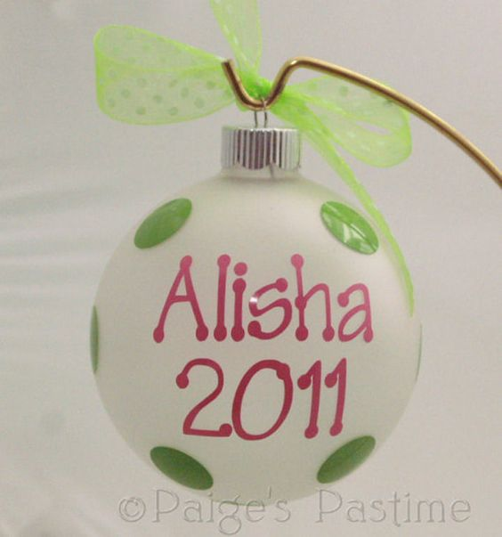 Christmas Ornament Personalized with Dot Font by paigespastime, $6.00