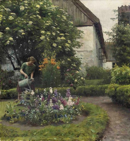 Watering the Garden, 1925, Peder Mørk Mønsted