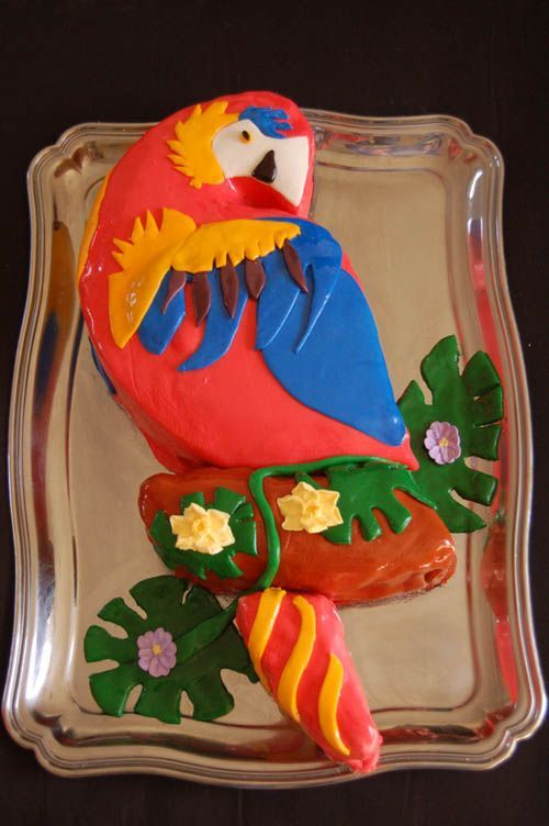 Parrot Cake - Yellow cake with raspberry filling and MMF