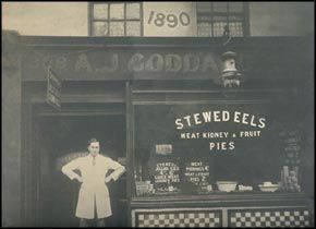The Shops front of a traditional Pie, Mash and eels in Greenwich, London in 1890.