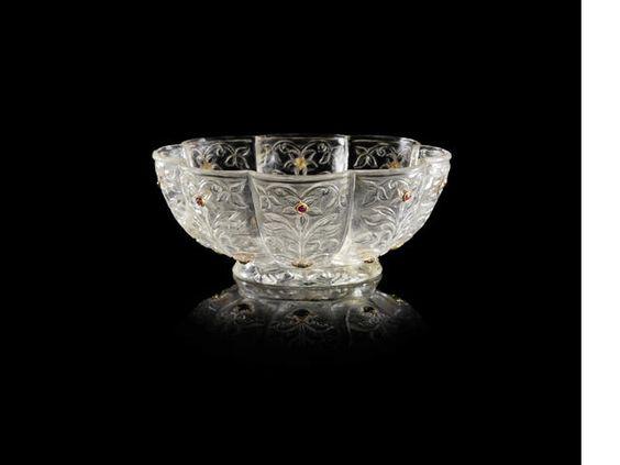 A Mughal gem-set carved rock crystal Bowl, India, 18th/19th Century