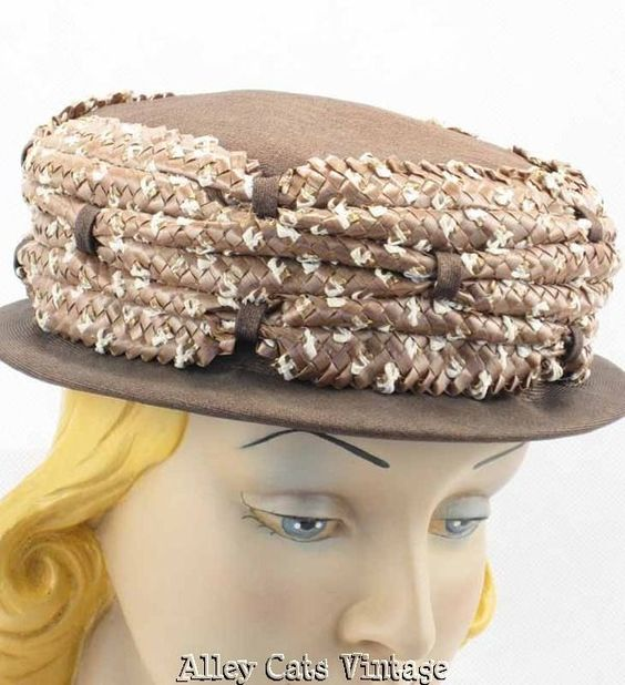 Vintage 1960s 60s Hat Taupe and Straw Brimmed Pillbox by Sherman