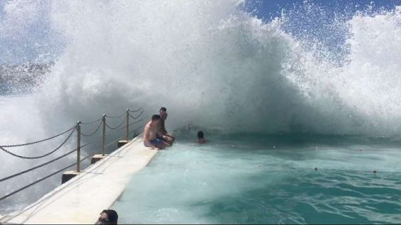 Waves from the Tasman Sea often crash into this incredible pool.
