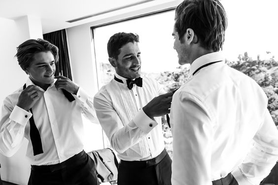stylist gents on the wedding morning | The Black Tux: