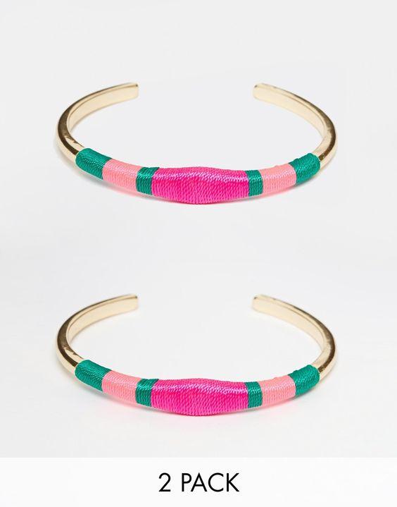 Image 1 - Monki - Elba - Lot de 2 bracelets ouverts ornés de fils enroulés