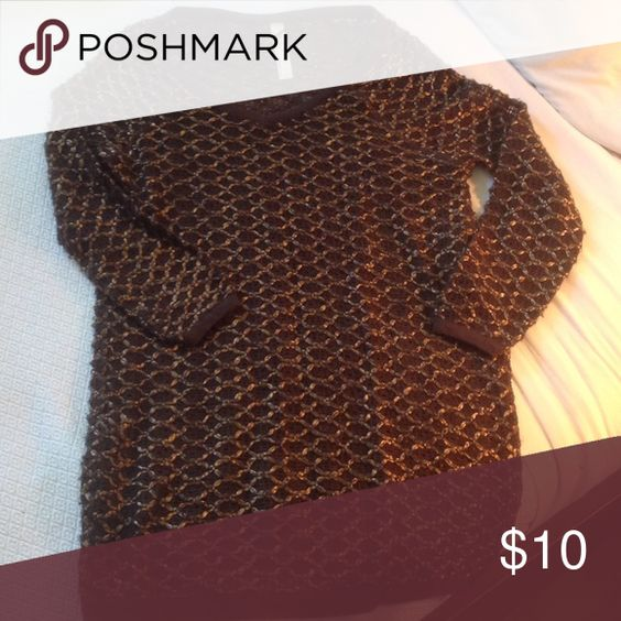Brown Sweater Long brown sweater with woven bronze thread. New Romantics Sweaters