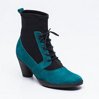 Bottines Grawem, nubuck et textile bleu et noir talon : 7,5 cm, tige : 13 cm ARCHE