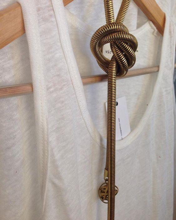 Beautiful brass snake  chain necklace by Sam ubhi hanging with our popular nelly linen singlet #samubhi#linen#singlet#summerfashion#beach#lorne#vicandbert#bloggers#summerfashion# by vicandbert http://ift.tt/1IIGiLS