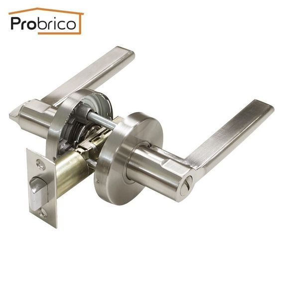 Probrico Stainless Steel Door Lock Lever Satin Brushed Nickel Interior Security Door Lock Security Door Door Lock Security Door Locks