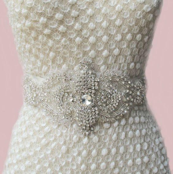 Rhinestone Crystal Beaded Bridal Wedding  Belt by gebridal on Etsy, $110.00
