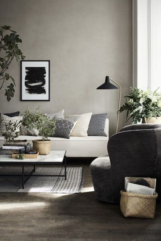 Nordic Modern Living Room Dark Wooden Floor White Couch Grey