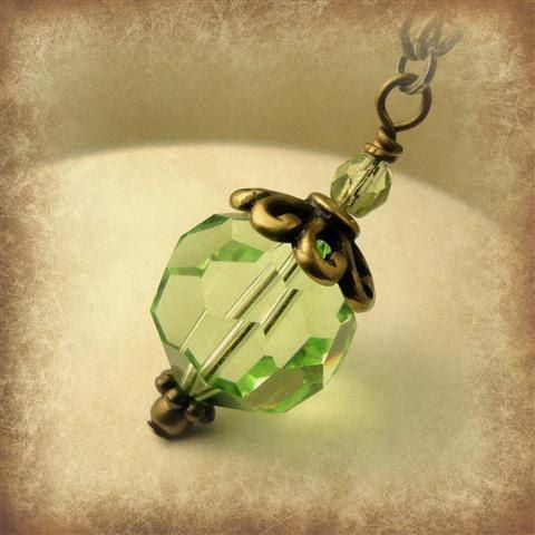 Peridot Green Necklace Swarovski Green Crystal by pink80sgirl, $34.00