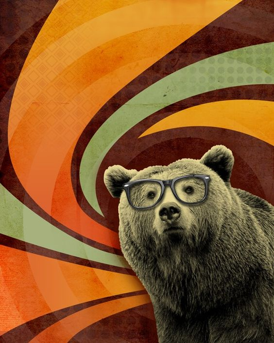 The Book Smart Bear with Glasses 8x10 Art Print - Swirl