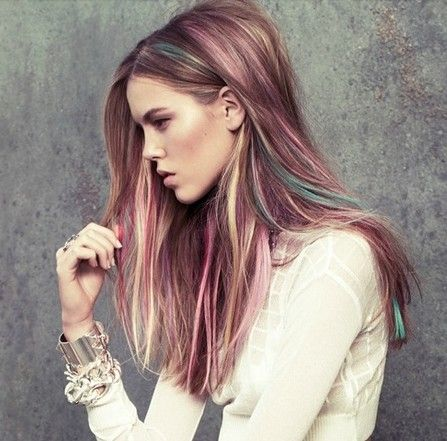 Dark blonde hair with pastel highlights ... pink, blonde ...
