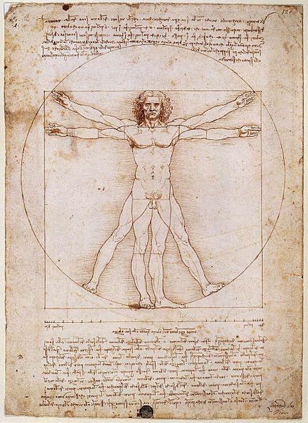 Leonardo da Vinci | Uomo Vitruviano e note | 1490 | penna e inchiostro su carta | Galleria dell'Accademia di Venezia |