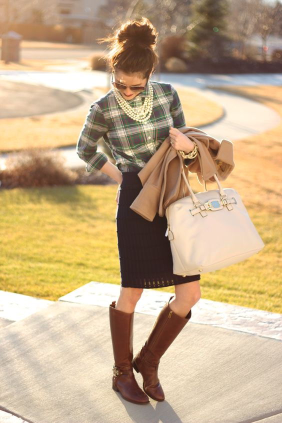 Would love to pull this off: pencil skirt, plaid shirt, riding boots, pearls, outfit-I would need a shorter skirt, add tights (maybe?)...: