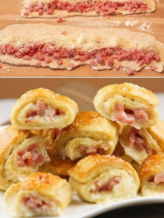 Rollitos de jamón y queso.  Great idea to make finger foods for a get-together.
