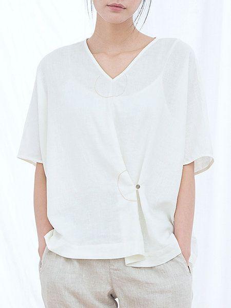 Asymmetric Plain Half Sleeve Casual Linen Blouse