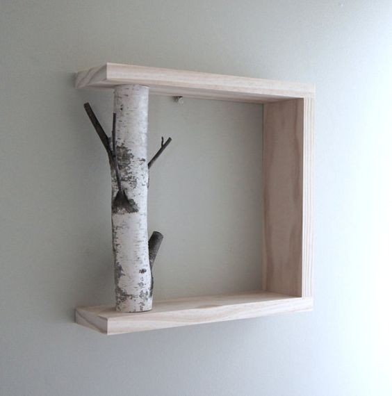 white birch forest wall art/shelf - 12x12, birch branch, framed birch art, floating shelves, display shelves, shadow box