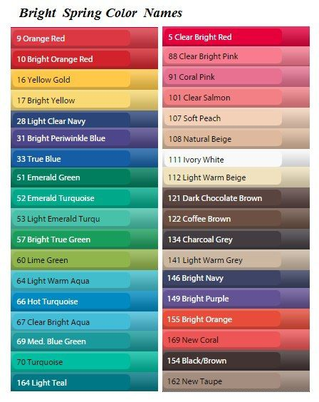 Bright Spring Color Names