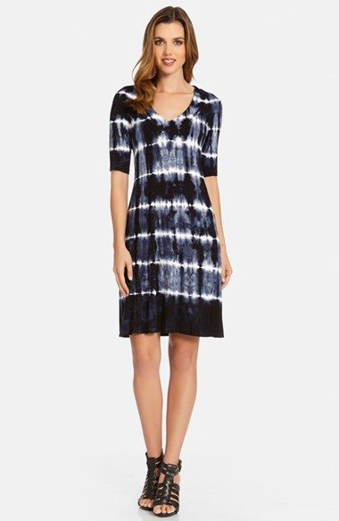 Free shipping and returns on Karen Kane Tie Dye V-Neck Dress at Nordstrom.com. Nothing embodies summer's free-spirited attitude like a throwback tie-dye print, and this comfortable jersey-knit dress shows it in fine fashion. The gently fitted A-line silhouette is cut with elbow-length sleeves.