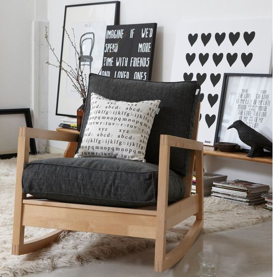 Lovely Ikea Lillberg Rocking Chair  Wood, Black and White  Home ...