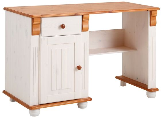 In folgenden Farben erhältlich:  Korpus/Front: weiß-kirschbaumfarben, Korpus/Front: gelaugt/geölt, Holzstruktur sichtbar,  Details:  1 Tür, 1 Schubkasten, Schubkasteninnenmaße (B/T/H): ca. 45/31/8 cm, Laufleisten der Schubkästen aus Metall, 1 Ablage, Fachmaße (B/T): ca. 47,5/46 cm, 1 fester Boden, Maße Arbeitsplatte (B/T): 120/55 cm, FSC®-zertifiziert, Schöne Fräsungen und aufwendige Details, F...